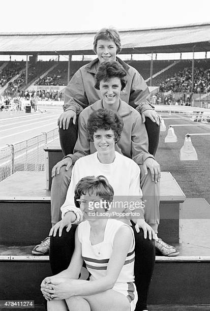 The British Women's Relay Team at the White City Stadium in London from front to back Madeleine Cobb Daphne Arden Dorothy Hyman and Mary Bignall...