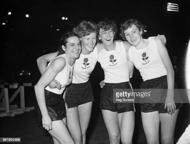 The British women's team after breaking the world record for the 4 x 220 yard relay at White City London 30th September 1953 They were competing...