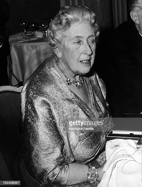The British writer Agatha CHRISTIE at the London Savoy Hotel is participating to a party celebrating the 10th anniversary of a theatre play she wrote...