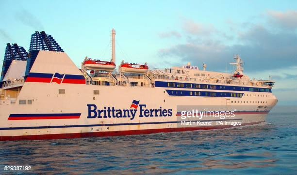 The Brittany Ferries vessel Barfleur leaving Poole Harbour Dorset