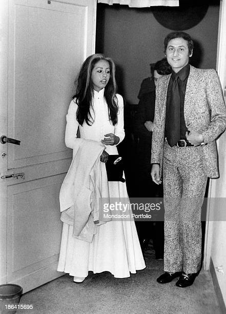 The broadcast presenter Renzo Arbore with the young actress and singer Daniela Goggi sister of the renowned Loretta both wearing typical Seventies'...