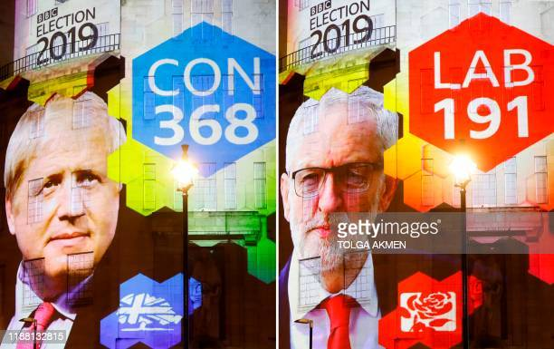 TOPSHOT The broadcaster's exit poll results projected on the outside of the BBC building in London shows Britain's Prime Minister Boris Johnson's...