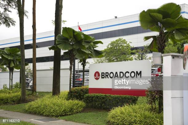 The Broadcom Ltd logo is displayed outside the company's headquarters in Singapore on Tuesday Nov 7 2017 BroadcomChief Executive Officer Hock Tan is...
