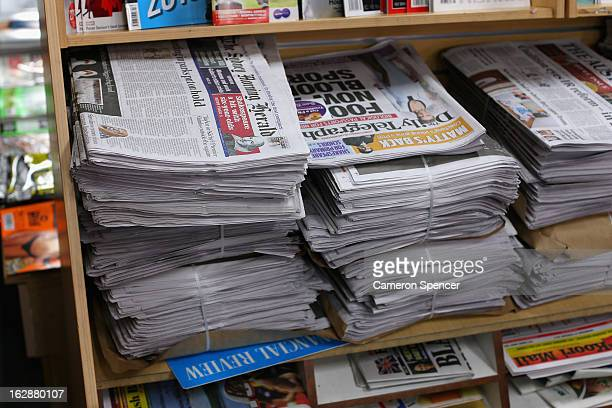 The broadsheet format 'Sydney Morning Herald' newspaper is seen on display at a newsagency on March 1 2013 in Sydney Australia After 180 years the...