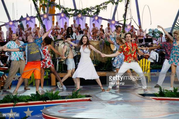 The Broadway cast of the new musical ESCAPE TO MARGARITAVILLE perform at the 2018 A Capitol Fourth rehearsals at US Capitol West Lawn on July 3 2018...