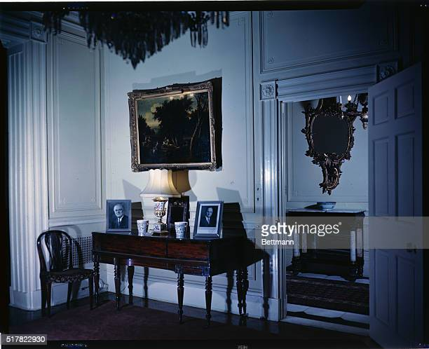 The Broadwood piano in one corner of the Southwest Parlor at Blair House looking out into the Entrance Hall It was here that General Sherman of Civil...