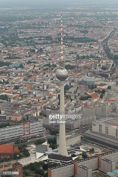 The brodcast tower at Alexanderplatz stands on June 27 2012 in Berlin Germany Berlin is a major tourist destination and the capital of Germany