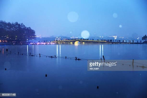 The Broken Bridge In Snow During Night,Hangzhou
