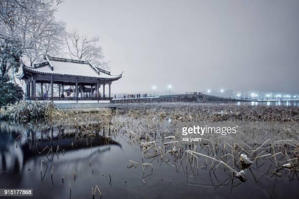 The Broken Bridge on the West Lake in snow,Hangzhou,China