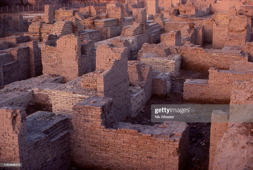 Excavated Ruins of Ancient City of Babylon in Mesopotamia Iraq : News Photo
