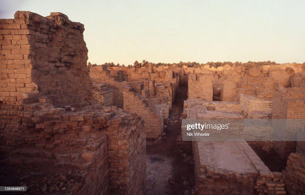 Excavated Ruins of Ancient City of Babylon in Mesopotamia Iraq : News Photo