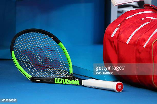 The broken racquet of Serena Williams of the United States is seen in her Women's Singles Final match against Venus Williams of the United States on...
