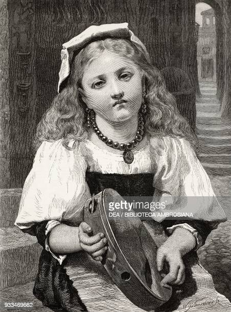 The broken tambourine, a sad little girl, engraving by William Biscombe Gardner from a painting by Pierre de Coninck , United Kingdom, illustration...