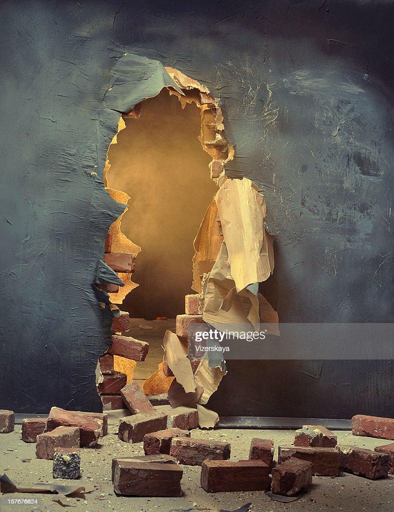 The broken wall : Stock Photo