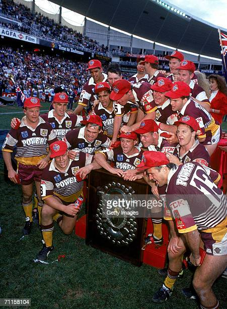 The Broncos celebrate after winning the 1992 NSWRL Grand Final between the Brisbane Broncos and the St George Dragons at the Sydney Football Stadium...