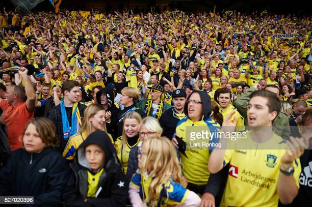 The Brondby IF fans celebrate after the Danish Alka Superliga match between Brondby IF and FC Copenhagen at Brondby Stadion on August 6 2017 in...