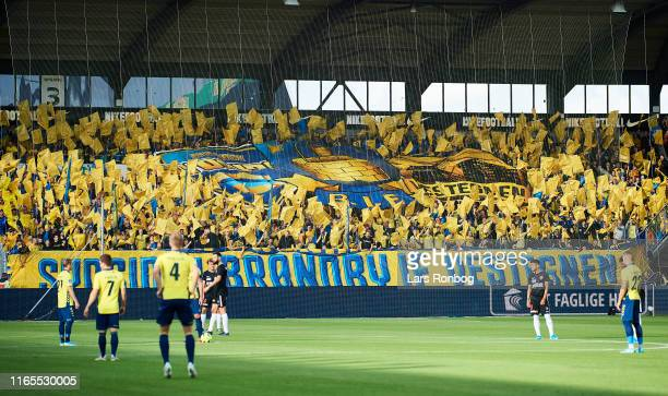 The Brondby IF fans tifo prior to the Danish 3F Superliga match between FC Midtjylland and Brondby IF at MCH Arena on September 1 2019 in Herning...