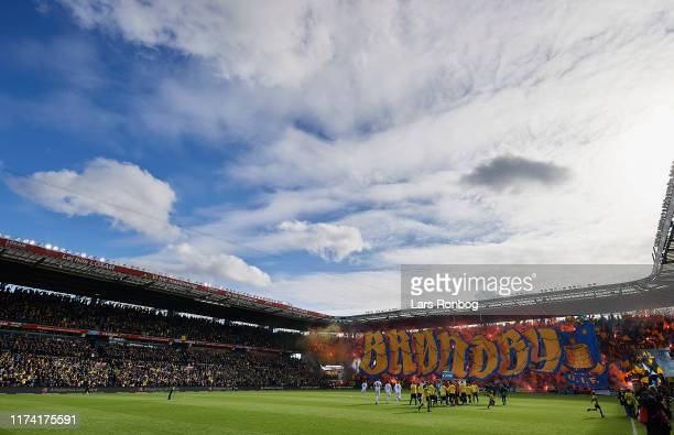 The Brondby IF fans tifo prior to the Danish 3F Superliga match between Brondby IF and FC Copenhagen at Brondby Stadion on October 6, 2019 in...