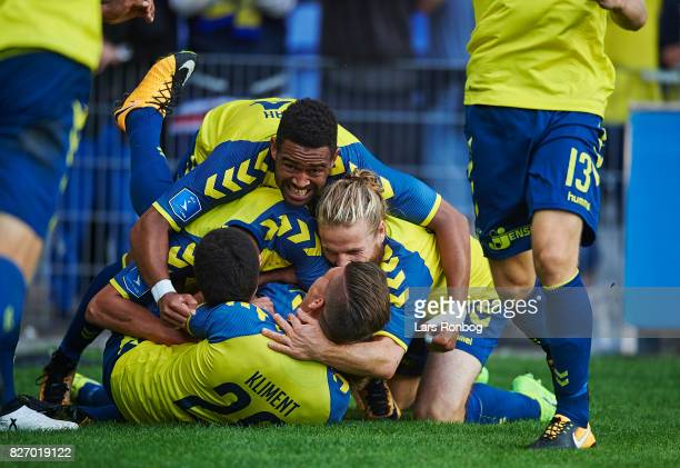 The Brondby IF players celebrate after the 10 goal scored by Simon Tibbling during the Danish Alka Superliga match between Brondby IF and FC...