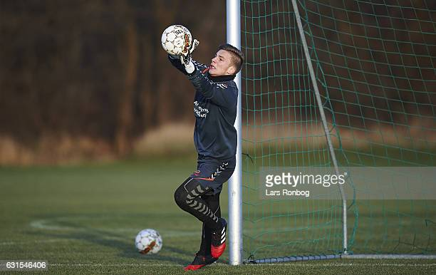 the Brondby IF training session at Brondby Stadion on January 12 2017 in Brondby Denmark