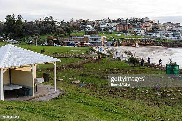 The Bronte Beach foreshore was badly damaged on June 6 2016 in Sydney Australia Torrential rain over the weekend saw streets and homes flooded while...