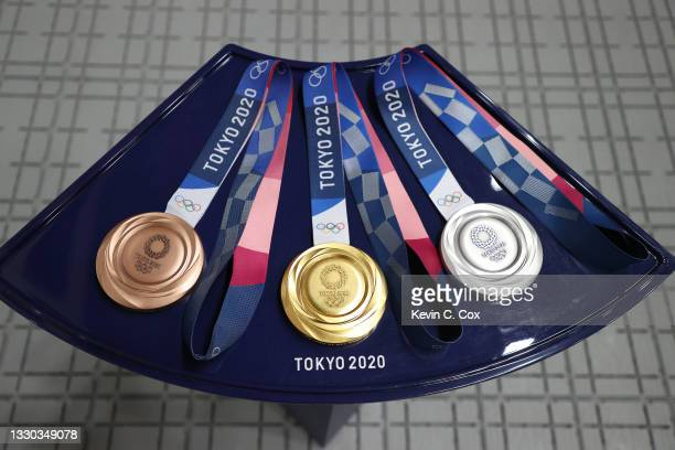 The Bronze, Gold, and Silver Medals for the 10m Air Pistol Men's event on day one of the Tokyo 2020 Olympic Games at Asaka Shooting Range on July 24,...