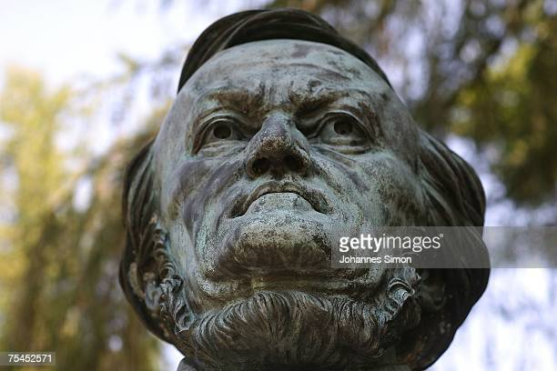 The bronze head of German composer Richard Wagner designed by sculptor Arno Breker is seen in the park of Bayreuth festival hall on July 17 2007 in...