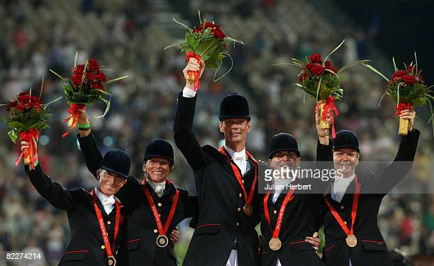 The Bronze medal winning Great Britain Team of Daisy Dick, Mary King, William Fox-Pitt, Kristina Cook and Sharon Hunt after finishing third in The...