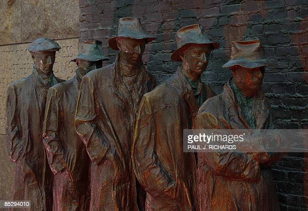 The bronze scupture created by George Segal Depression Bread Line shows five men waiting in line near a door during the Great Depression and the...