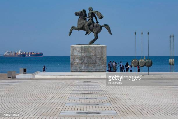 The bronze statue of Alexander the Great the King of Macedonia the king of Greece on his famous horse Bucephalus located at the waterfront of...