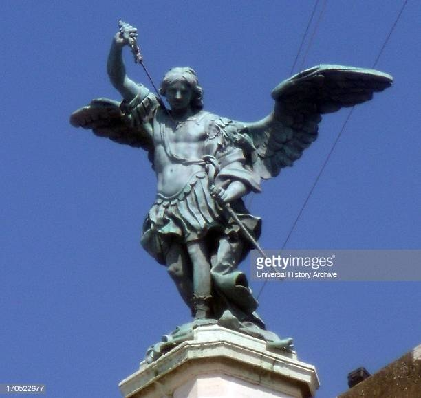 The bronze statue of Archangel Michael standing on top of the castle of St Angelo Rome modelled in 1753 by Peter Anton von Verschaffelt The Mausoleum...