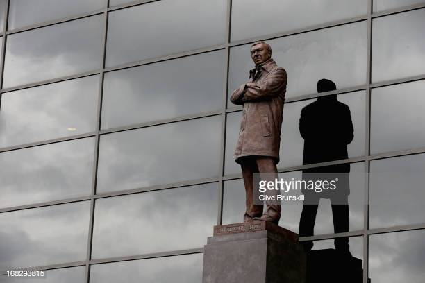 The bronze statue of Manchester United manager Sir Alex Ferguson is pictured on the day he announced his retirement as club manager on May 8 2013 in...