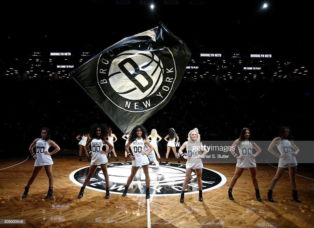 The Brooklyettes Dancers perform during team intros during a game the game against the Sacramento Kings on November 27, 2016 at Barclays Center in Brooklyn, NY.