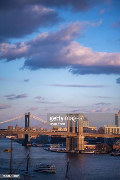 The Brooklyn and Manhattan Bridges seen from New York City