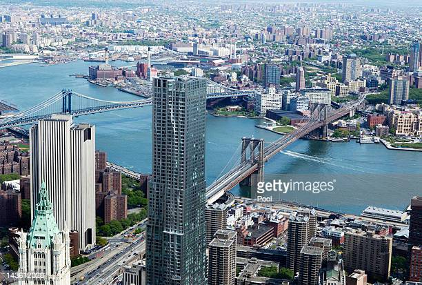 The Brooklyn Bridge and Manhattan Bridge can be seen from the 90th story of One World Trade Center on April 30 2012 in New York City One World Trade...