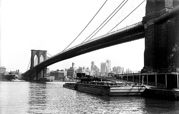 The Brooklyn Bridge stretches across the East River.