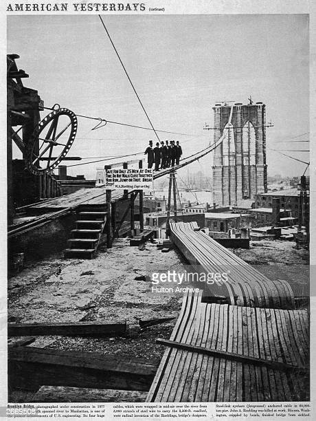 The Brooklyn Bridge under construction The four main cables of the bridge were made up of 5000 strands of steel wire held by steellink eyebars...