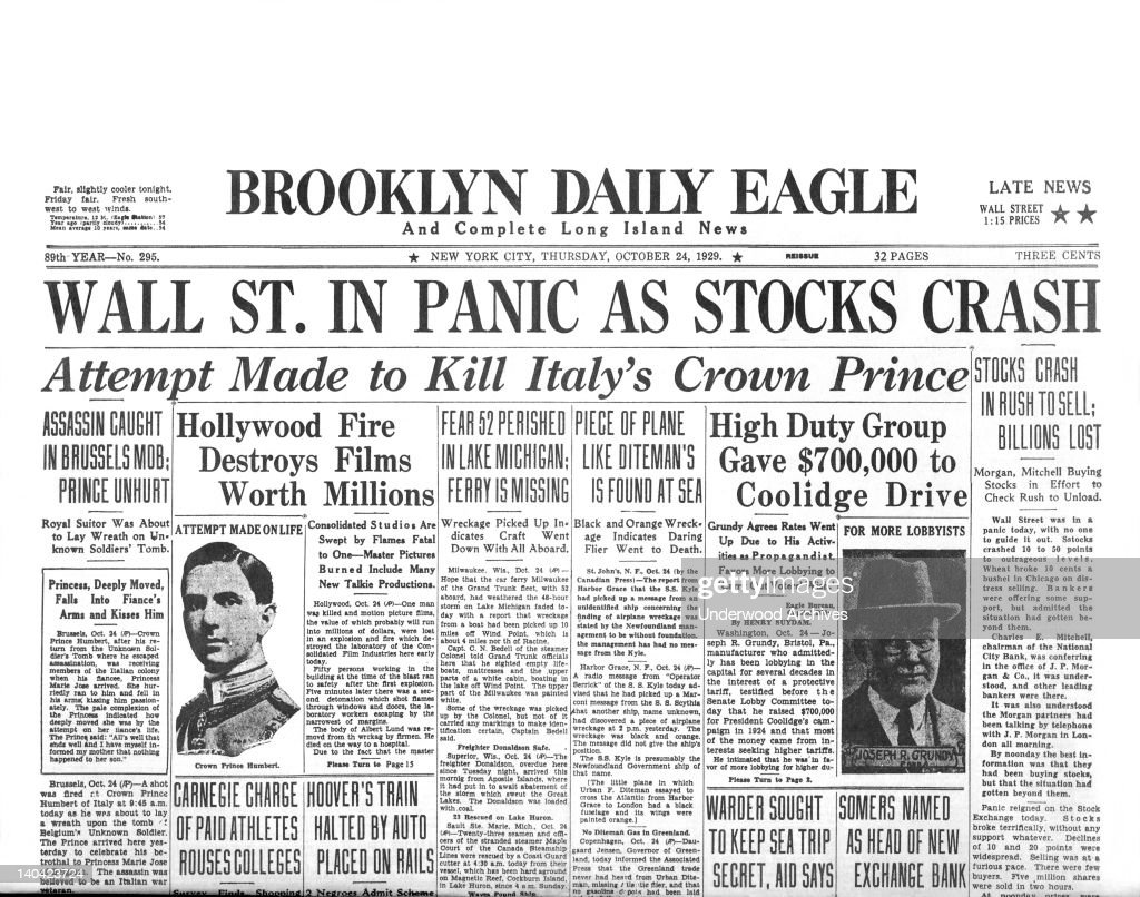 The Brooklyn Daily Eagle headlines for Black Thursday, the