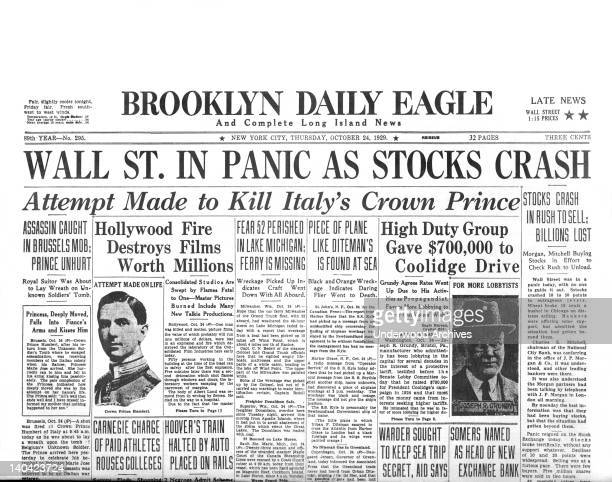 The Brooklyn Daily Eagle headlines for Black Thursday the first day of the stock market crash New York New York October 24 1929