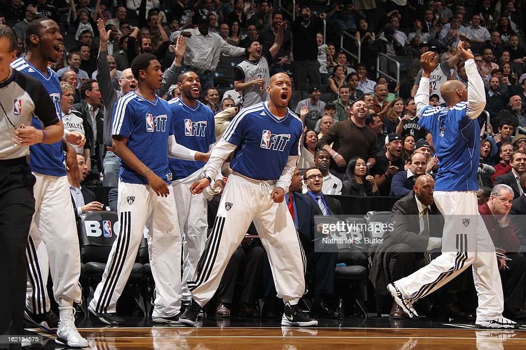 The Brooklyn Nets bench reacts to a play during the game against the Miami Heat on January 30, 2013 at the Barclays Center in the Brooklyn borough of New York City.