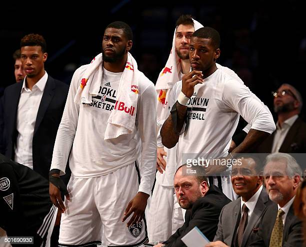 The Brooklyn Nets bench reacts to the loss to the Miami Heat at Barclays Center on December 16 2015 in the Brooklyn borough of New York CityNOTE TO...