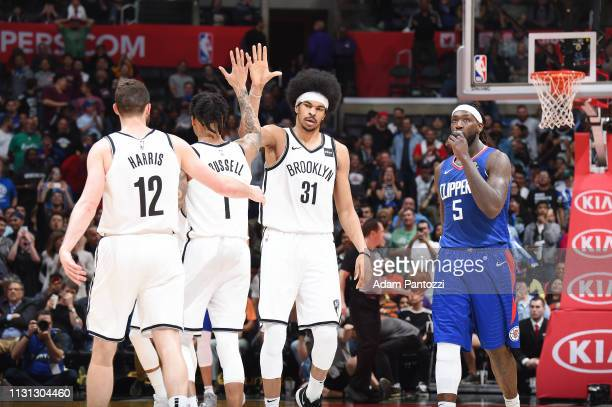 The Brooklyn Nets celebrates during the game against the LA Clippers on March 17 2019 at STAPLES Center in Los Angeles California NOTE TO USER User...