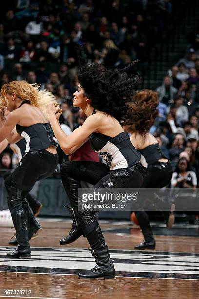 The Brooklyn Nets dance team performs during a game against the Boston Celtics on March 23 2015 at the Barclays Center in the Brooklyn borough of New...
