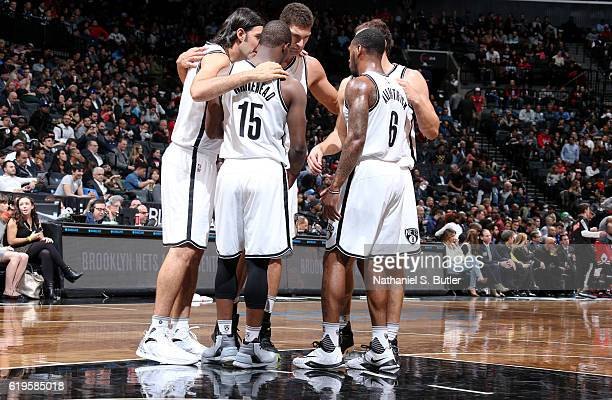 The Brooklyn Nets huddle during the game against the Chicago Bulls on October 31 2016 at Barclays Center in Brooklyn New York NOTE TO USER User...