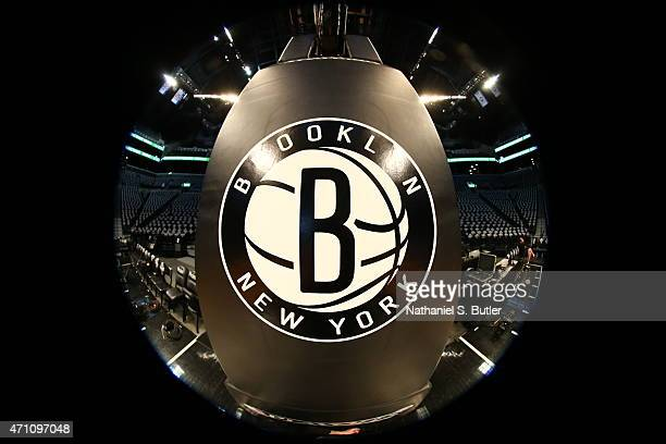 The Brooklyn Nets logo before a game against the Atlanta Hawks in Game Three of the Eastern Conference Quarterfinals during the 2015 NBA Playoffs on...