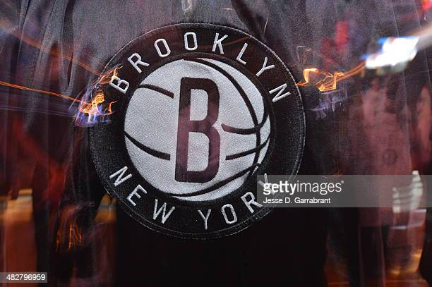 The Brooklyn Nets logo before the game against the Detroit Pistons on April 4 2014 at the Barclays Center in Brooklyn New York NOTE TO USER User...