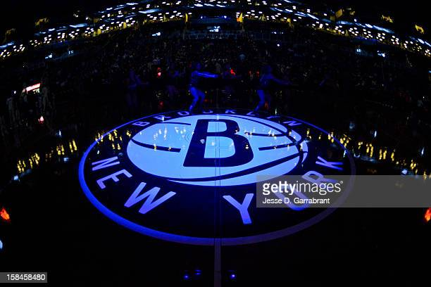 The Brooklyn Nets logo is shown at halfcourt before a game between the Nets and Detroit Pistons at the Barclays Center on December 14 2012 in the...