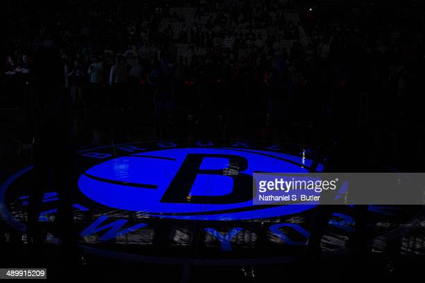 The Brooklyn Nets logo is shown before Game Four of the Eastern Conference Semifinals against the Miami Heat during the 2014 NBA Playoffs on May 12...