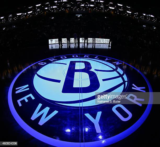 The Brooklyn Nets logo on the court before the game against the Boston Celtics during the preseason game on October 14 2015 at Barclays Center in...