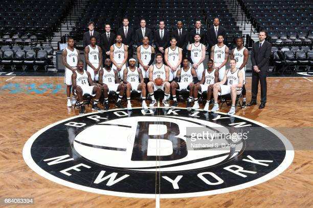 The Brooklyn Nets pose for a team photo at the Barclays Center in Brooklyn New York on April 1 2017 NOTE TO USER User expressly acknowledges and...